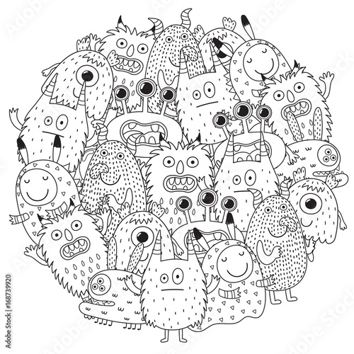Funny monsters circle shape pattern for coloring book. Vector illustration
