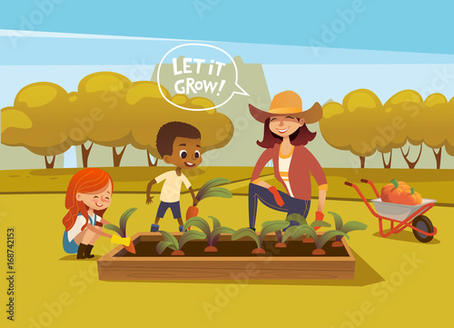 Smiling Multiracial Children And Female Agricultural Worker In