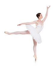 Ballerina Making Ballet Arabesque At White Background