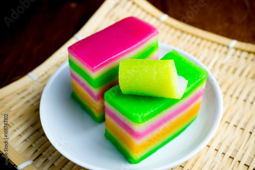 Kuih Lapis Or Steam Layer Cake Malaysia Dessert In White Dish Black Background Buy This Stock Photo And Explore Similar Images At Adobe Stock Adobe Stock