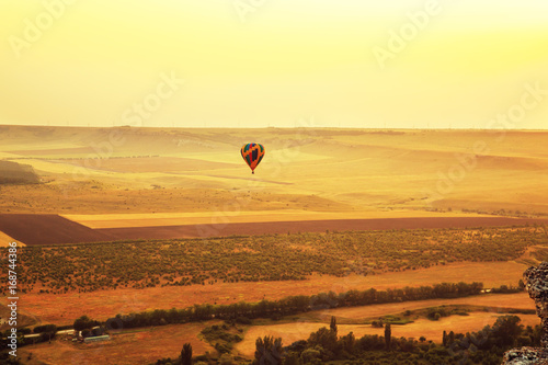 Fotobehang Zwavel geel Amazing Crimean landscape at sunset.
