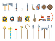 Medieval Game Weapons Set Fantasy RPG Vector Isolated Icons Flat Design Vector Illustration