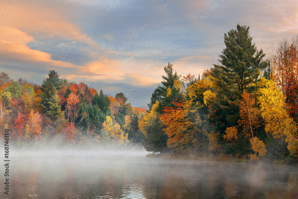 Fototapety, obrazy: Lake Autumn Foliage