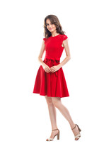 Happy Beautiful Woman In Red D...