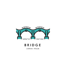 Logo Vector Arched Bridge Isolated On White Background