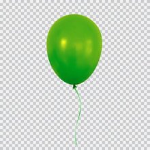 Green Helium Balloon Isolated ...
