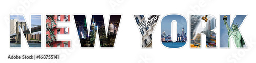 Foto op Plexiglas New York TAXI Letters NEW YORK photo collage isolated on white background