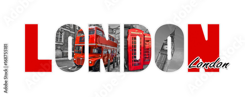 Fotobehang Londen rode bus London letters, isolated on white background, travel and tourism in UK concept