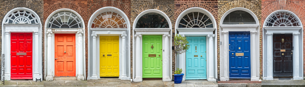 Fototapety, obrazy: Panoramic rainbow colors collection of doors in Dublin, Ireland