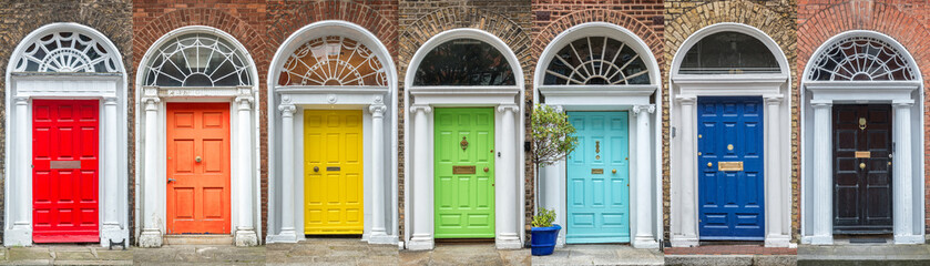 Panoramic rainbow colors collection of doors in Dublin, Ireland