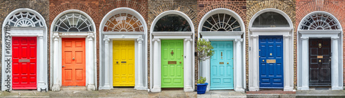 Photo Panoramic rainbow colors collection of typical irish georgian doors of Dublin, I