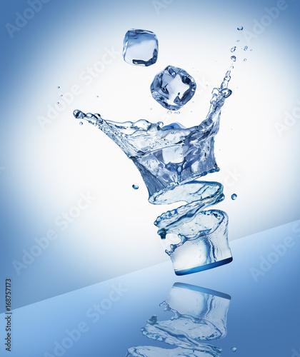 plusk-wody-z-kostkami-lodu-w