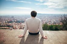 Young Man Enjoying Barcelona City View