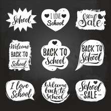 Vector Set Of Vintage Back To School In Comic Speech Bubbles On Chalkboard. Educational Labels With Hand Lettering.