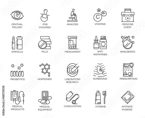 Photo Set of 20 medicine line icons