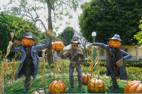 Scarecrow And Halloween Pumpkin Head Jack O Lantern Statues For