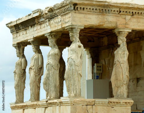 Tuinposter Athene The Impressive Caryatid Porch of the Erechtheum Ancient Greek Temple on the Acropolis, Athens, Greece