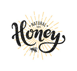 Natural honey Lettering. Ve...