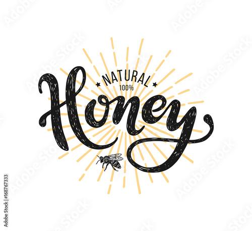 Natural honey Lettering. Ve...