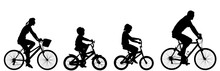 Happy Family Riding Bicycle To...
