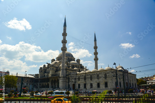Istanbul city with mosques and bosom canal in summer Poster