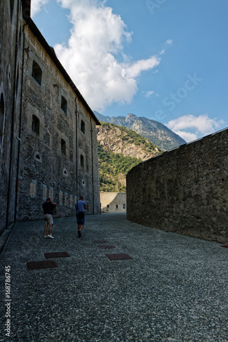 Платно  Fort Bard, Valle d'Aosta, Italy - August 18, 2017: Historic military construction defence Fort Bard