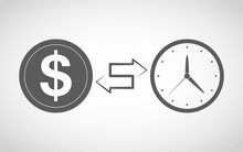 Time Is Money Icon. Vector Ill...