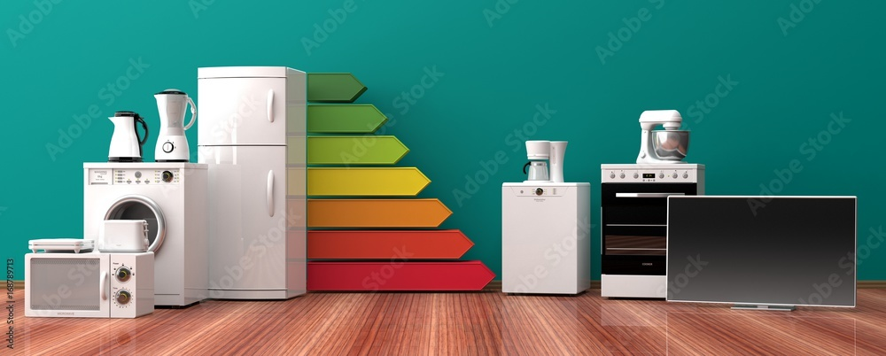 Fototapeta Home appliances and energy efficiency rating. 3d illustration