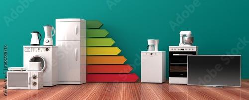 Fotografía  Home appliances and energy efficiency rating. 3d illustration