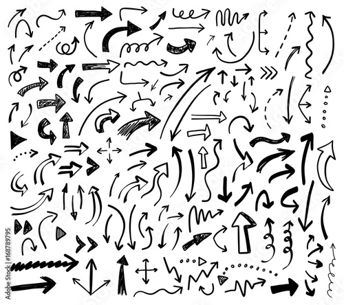Cuadros en Lienzo  Hand drawn vector arrows set.