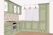 3D rendering. Beautiful classic kitchen furniture design. Green painted facades. Appliances and decorations. Home Interior Design Software Programs. Lines, projection. Float pendant light. Mosaic tile