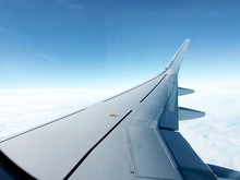 Airplane Wing From Passenger Window