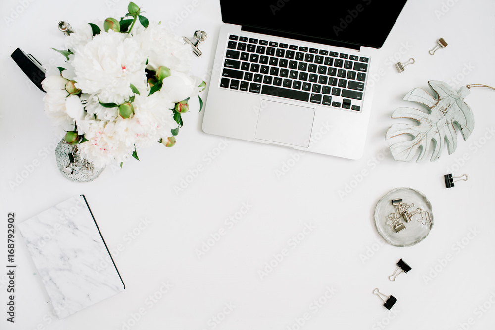 Fototapety, obrazy: Flat lay home office desk. Female workspace with laptop, white peony flowers bouquet, accessories, marble diary on white background. Top view feminine background.