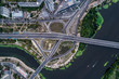 Fragment of the road junction in Kiev near the residential area of Rusanovka. Aerial view. From above
