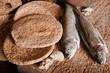 Leinwandbild Motiv Five loaves of bread and two fish
