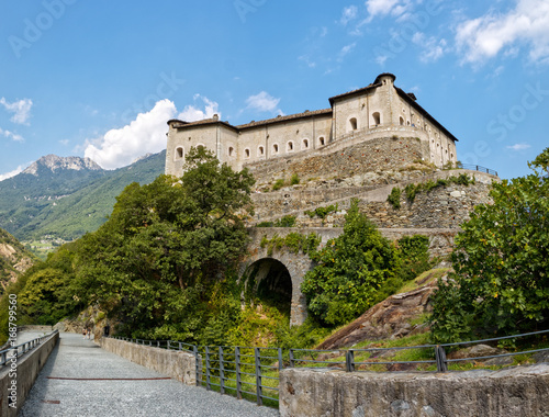фотография  Fort Bard, Valle d'Aosta, Italy - August 18, 2017: Historic military construction defence Fort Bard