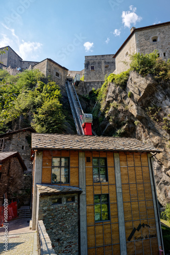 Fort Bard, Valle d'Aosta, Italy - August 18, 2017: Historic military construction defence Fort Bard Wallpaper Mural