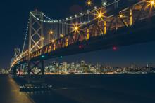 Lighting Bay Bridge Leading To San Francisco City