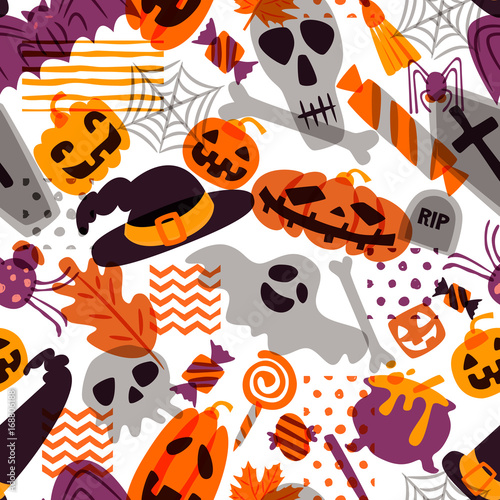 Cotton fabric Vector seamless Halloween pattern. Doodle pumpkin, skull, witch hat, bones, candies, spider, ghost, broom, cauldron on white background. Design for holiday textile prints wrapping and backgrounds