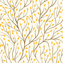 Beautiful Seamless Pattern With Tree Branches And Autumn Yellow Leaves.