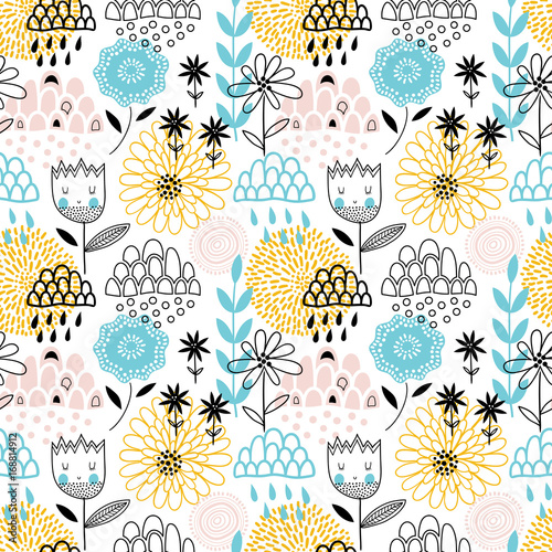 Colorful vector seamless floral background