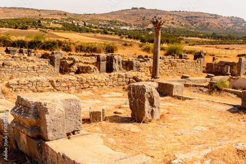 Foto op Aluminium Rome Excavations of Volubilis, an excavated Berber and Roman city in Morocco, ancient capital of the kingdom of Mauretania. UNESCO World Heritage