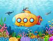 Cartoon submarine underwater