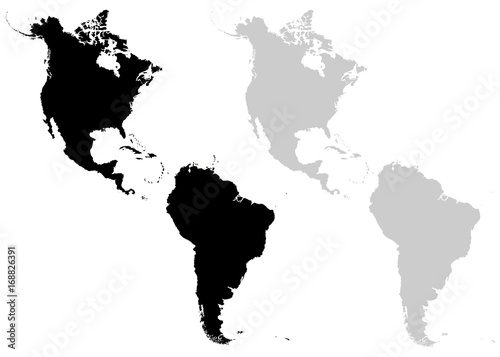 Continents North and South America on a white background