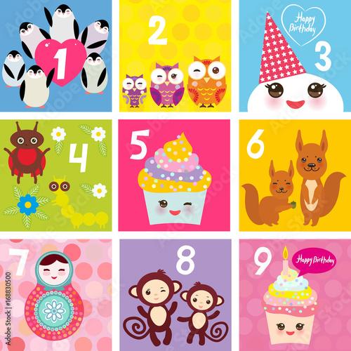 Happy Birthday Card Design With Kawaii Cupcake Squirrel Ladybug Monkey Matryoshka Owl Penguin Pastel Colors