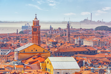 Fototapeta Wenecja Panoramic view of Venice from the Campanile tower of St. Mark's Cathedral (Campanile di San Marco). Italy.