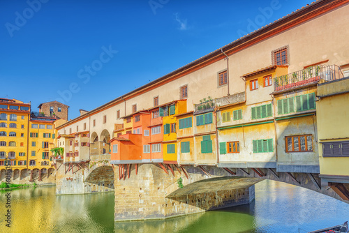 Fotografie, Obraz  Ponte Vecchio is a bridge in Florence, located at the narrowest point of the Arno River, almost opposite the Uffizi Gallery