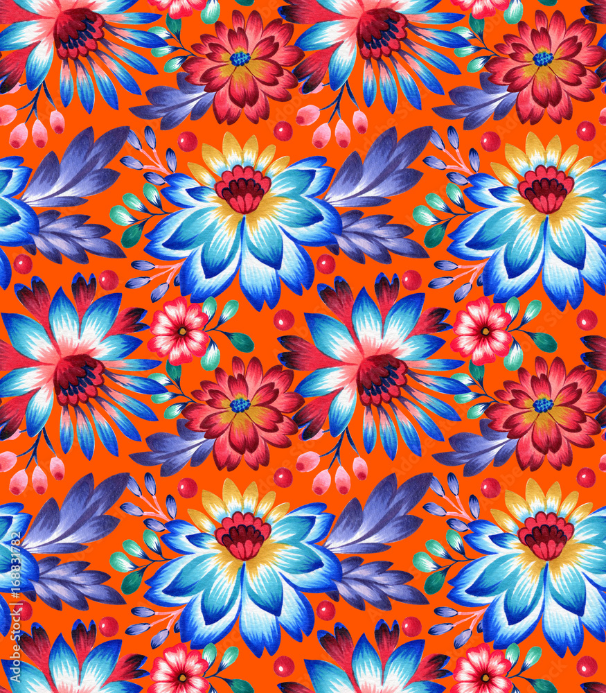 seamless pattern with folk style flowers and leaves, ethnic design.