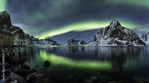 Spoed Foto op Canvas Nachtblauw northern light at Lofoten