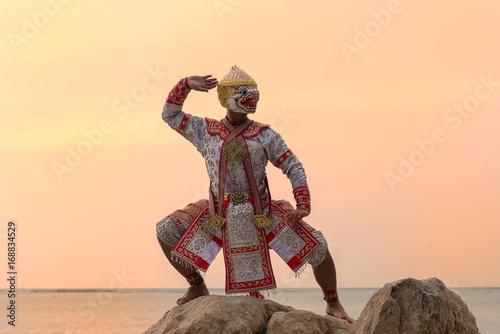 Fototapeta Hanuman,Art culture Thailand Dancing in masked Khon Hanuman in Literature Ramayana